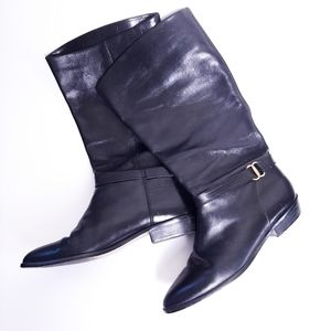 Etienne Aigner leather Shelby riding style boots